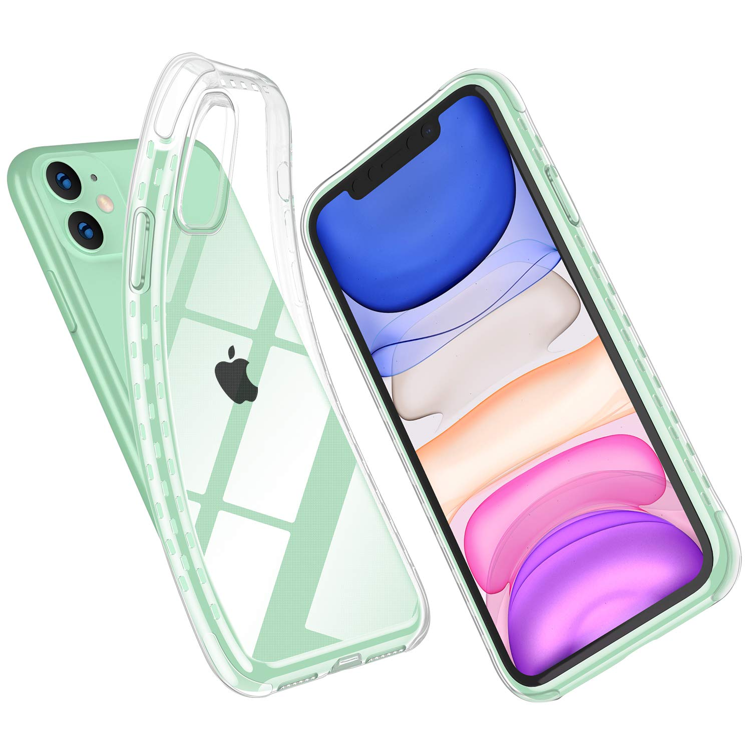 SUPWALL iPhone 11 Case, Clear Case Full Body Shockproof Protection Soft Scratch-Resistant TPU Anti-Yellow Support Wireless Charging Cyrstal Case Cover for iPhone 11 6.1 inch, Clear