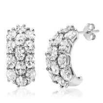 Sterling Silver Oval Cut Three-Row Cubic Zirconia Hoop Earrings