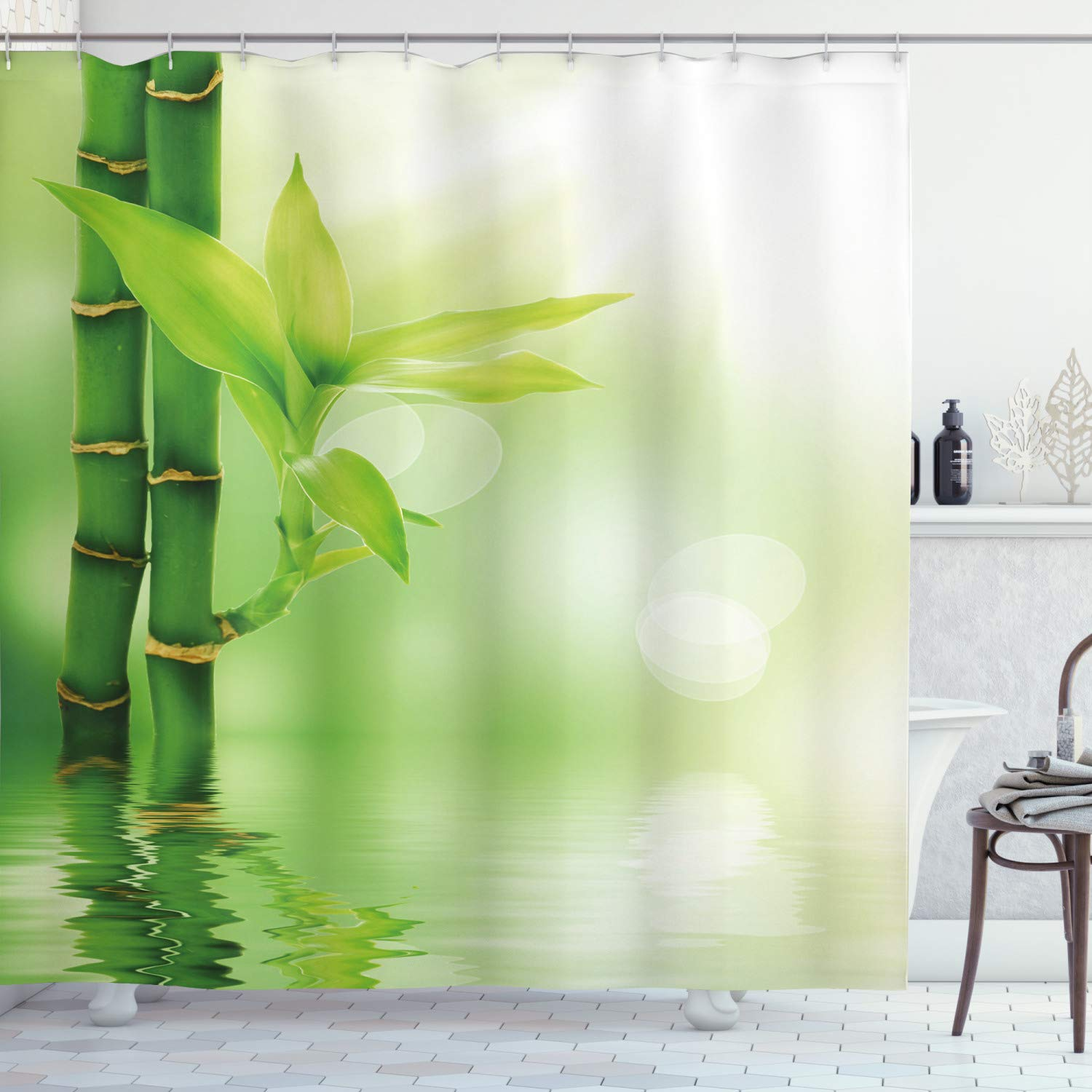 "Ambesonne Plant Shower Curtain, Chinese Ecology Picture of Bamboo Sticking Out of The Water Serene Atmosphere, Cloth Fabric Bathroom Decor Set with Hooks, 84"" Long Extra, Emerald Green"