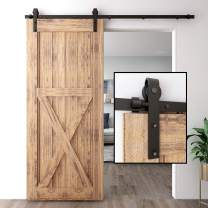 """CCJH 6FT Sliding Barn Door Hardware Kit, Heavy Duty, Smoothly and Quietly, Easy to Install, Fit 36"""" Width Single Door Panel, Basic Style Black"""
