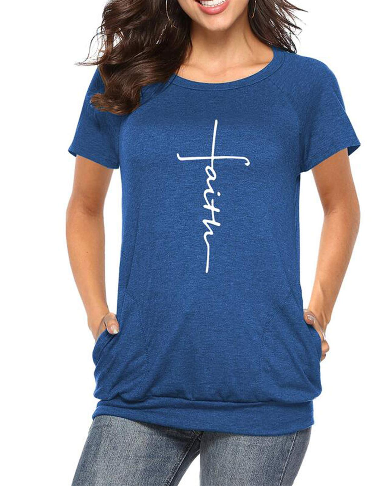 Mansy Womens Summer Casual Faith Tshirts Letter Printed Short Sleeve and Long Sleeve Graphic Tees Tops Sweatshirt Pockets