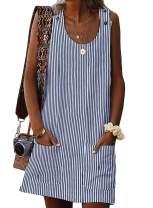Eytino Women Casual Summer Button Mini Dress Sleeveless Pocket Tank Dresses,Small Black