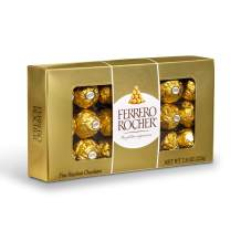 Ferrero Rocher Fine Hazelnut Milk Chocolate, 18 Count, Chocolate Candy Gift Box, 7.9 oz