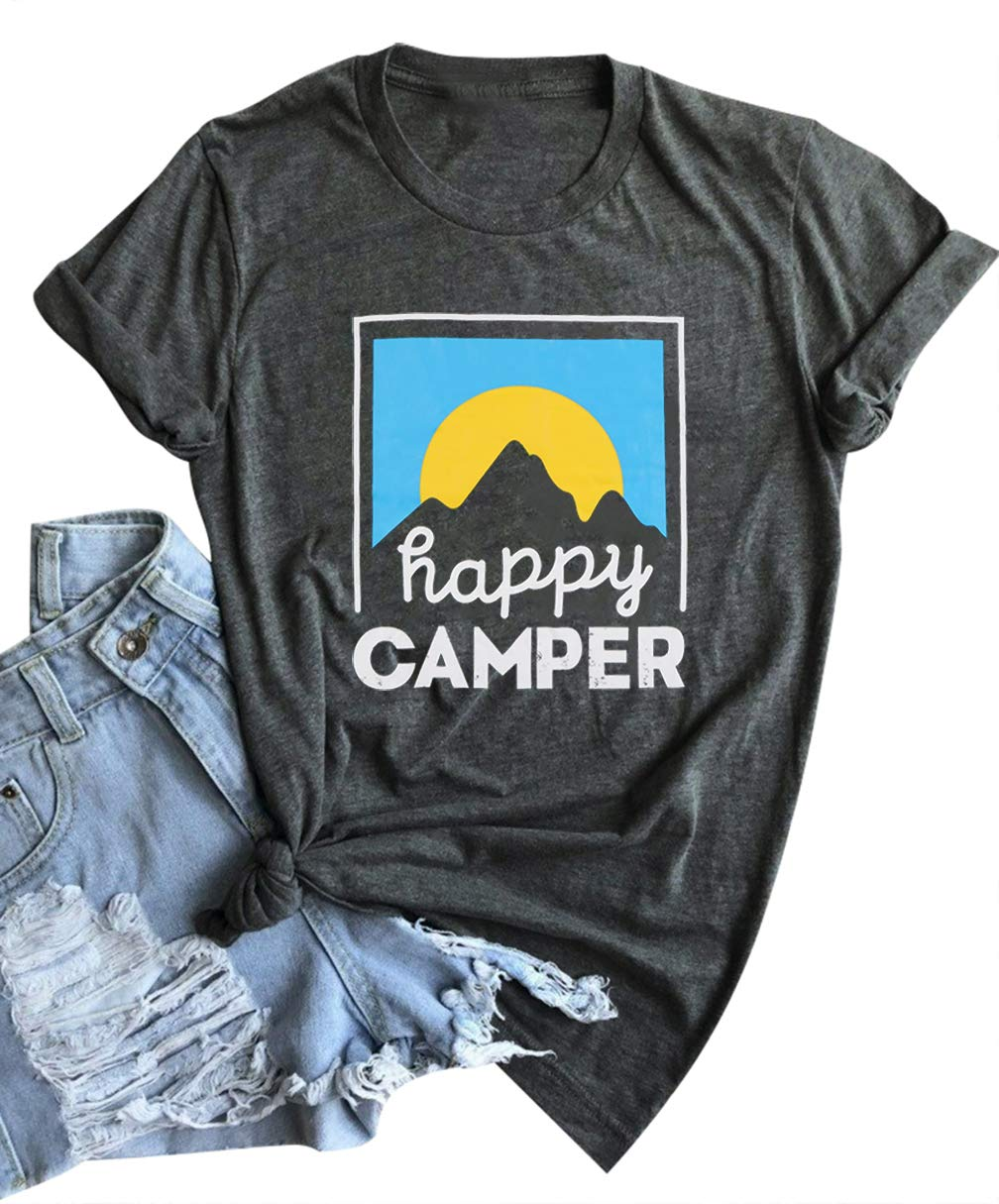 EGELEXY Happy Camper T-Shirt for Women Funny Letters Printed Graphic Tees Tops Casual O Neck Short Sleeve Tshirt Blouse