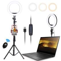 """8"""" Selfie Ring Light with Tripod Stand & Cell Phone Holder for Live Stream/Makeup, HPUSN Dimmable Led Beauty Camera Ringlight for YouTube TikTok/Photography Compatible with iPhone & Android"""