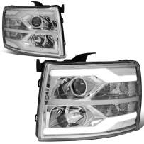 Replacement for 07-14 Chevy Silverado Pair Chrome Housing Clear Corner Dual LED DRL Tube Projector Headlight/Lamps