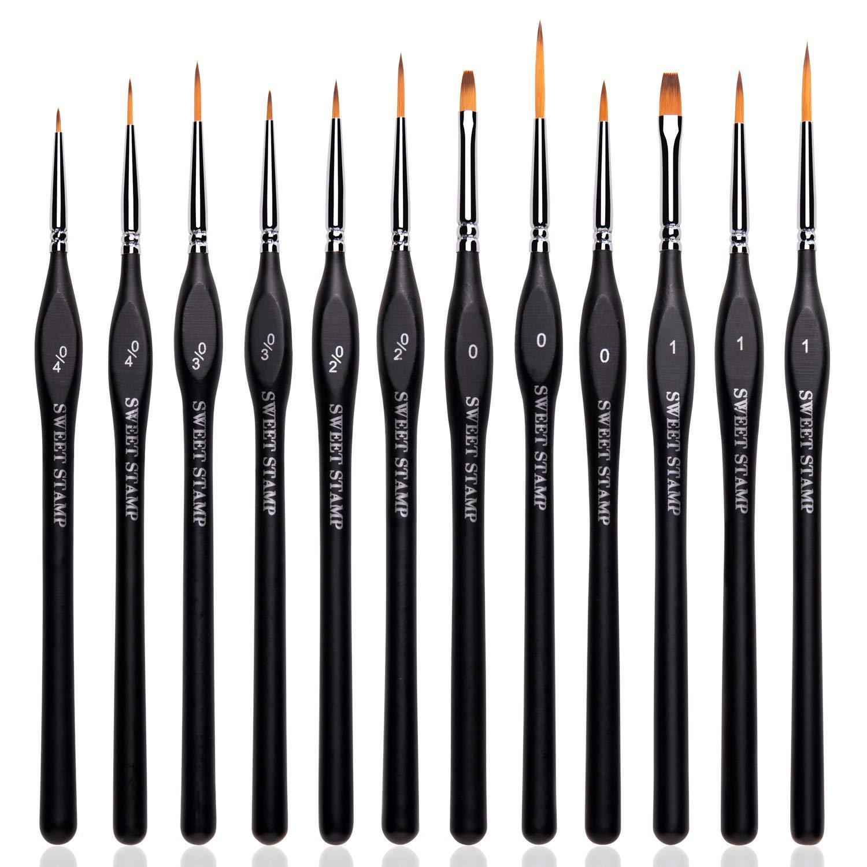 Micro Detail Paint Brush Set Nylon Black Miniature Fine Detail Brushes 12 pcs Detail Brush Set for Acrylic Watercolor Oil Nail Painting- Art, Scale Models