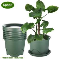 ZOUTOG Planters, 9.5 Inch Plastic Pots for Plants, Flower Pots with Drainage Hole and Tray, Pack of 6, Plants not Included