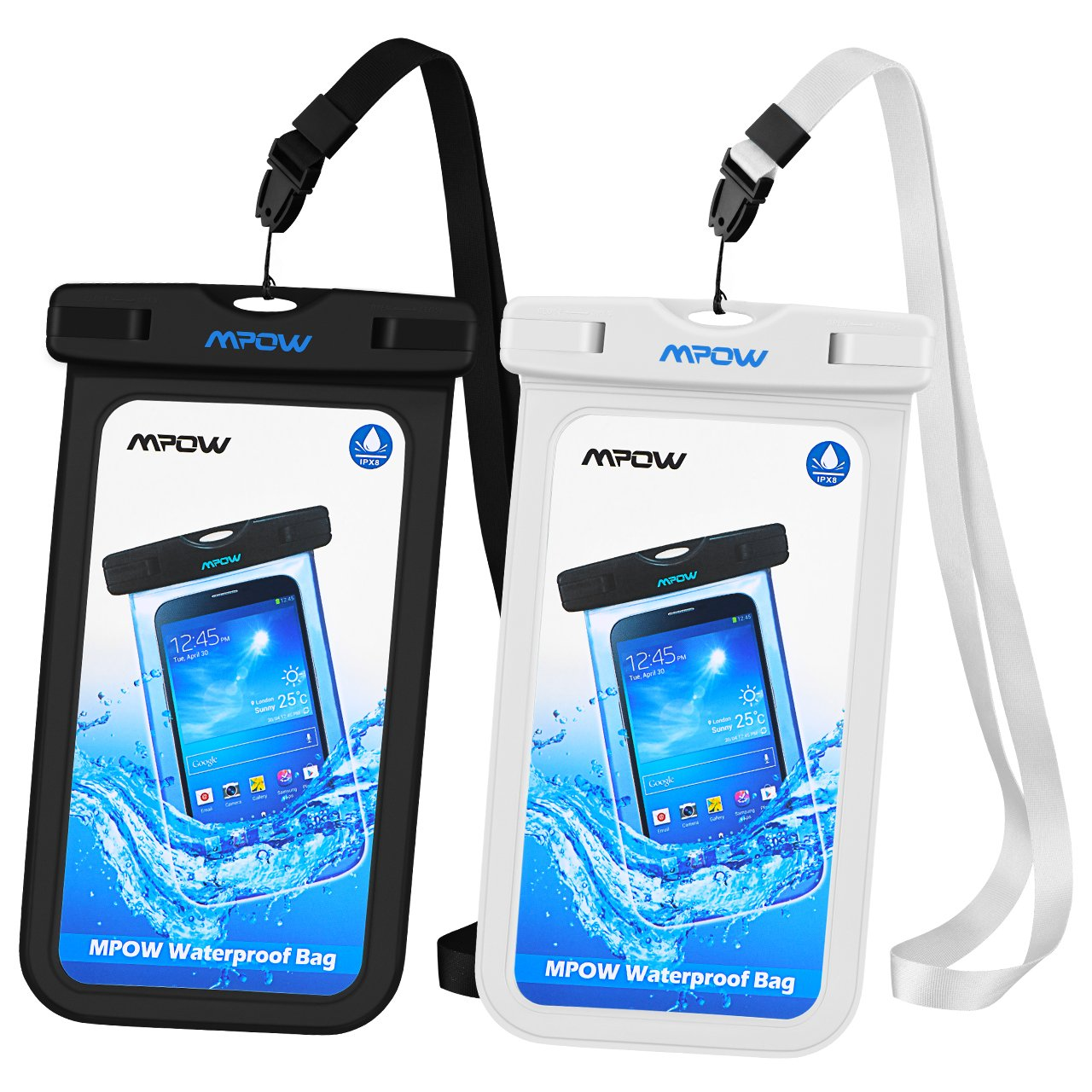 Mpow Universal Waterproof Case, IPX8 Waterproof Phone Pouch Dry Bag Compatible for iPhone Xs Max/XS/XR/X/8/8Plus/7/7Plus/6S/6/6S Plus Galaxy S9/S8/S7 Note 9/8 Google Pixel HTC12 (Black+White 2-Pack)