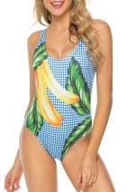 RIGHR Women's One Piece Swimsuit Low Back Retro Swimwear Bathing Suit