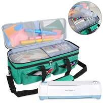 Luxja Double-Layer Bag Compatible with Cricut Explore Air (Air2) and Maker, Carrying Bag Compatible with Cricut Die-Cut Machine and Supplies (Bag Only), Dark Green