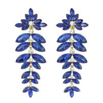 SP Sophia Collection Floral Leaf Drop Crystal Burst Clip-On Dangle Women's Fashion Statement Earrings