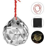 """MerryNine Clear Crystal Ball Prism Suncatcher Rainbow Pendants Maker, Hanging Crystals Prisms for Windows, for Feng Shui, for Gift(80mm/3.15"""" 1pack)"""