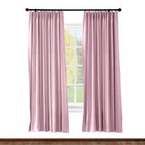 ChadMade Pinch Pleated Curtain 52W x 96L Inch Solid Thermal Insulated Blackout Patio Door Panel Drape for Traverse Rod and Track, Pink (1 Panel)