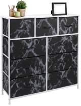 Sorbus Dresser with 9 Drawers - Furniture Storage Chest Tower Unit for Bedroom, Hallway, Closet, Office Organization - Steel Frame, Wood Top, Fabric Bins (Marble Black – White Frame)