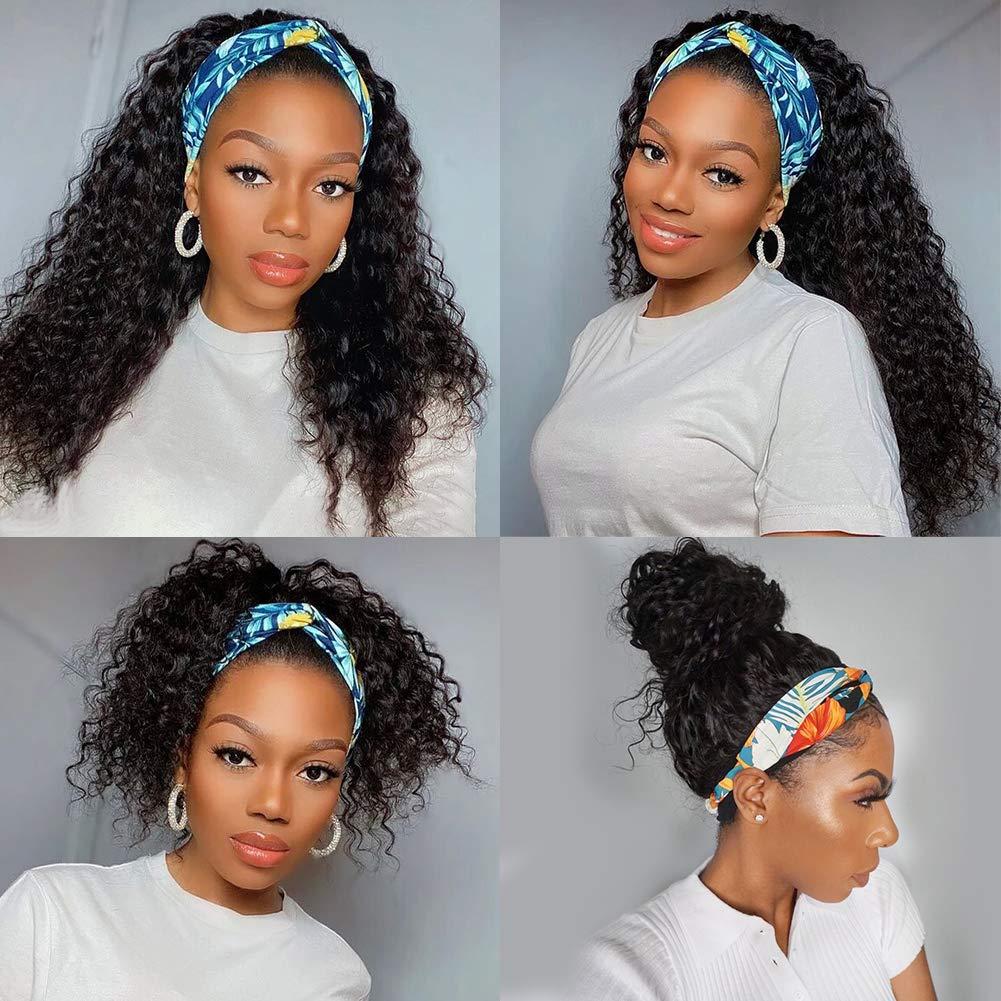 Pizazz Headband Wig Human Hair 9A Water Wave Human Hair Wigs for Black Women 150% Density Brazilian Scarf Wigs Glueless Easy Wear Machine Made Headband Wig(18 Inch)
