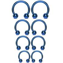BodyJ4You 8PC Horseshoe Barbells Ball Closure Ring 16G Nose Lip Ear Nipple Multicolor Steel Jewelry