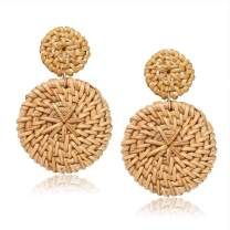 Weave Straw Double Disc Drop Earrings Boho Rattan Dangle Statement Earrings