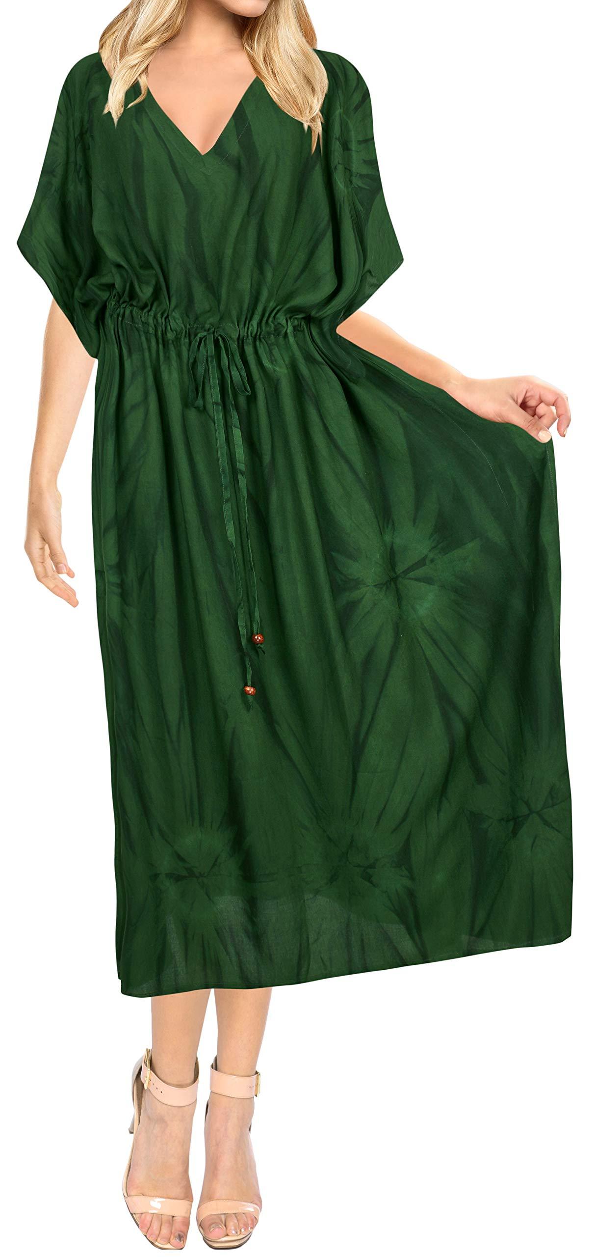 LA LEELA Women's Maxi Kaftan Boho Dress Sleep Wear Swim Cover Ups Embroidered
