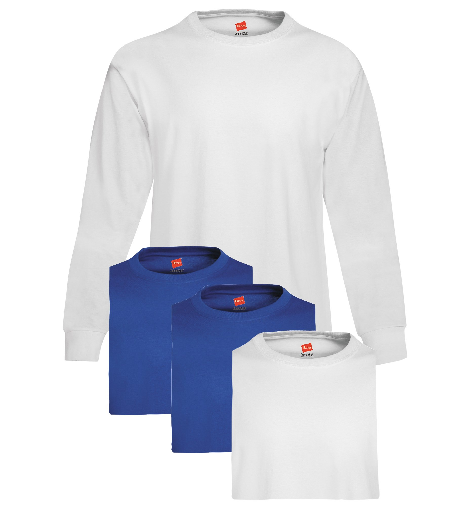 Hanes Men's 4 Pack Long Sleeve T-Shirt, 2 White/2 Royal