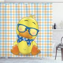 """Ambesonne Cartoon Shower Curtain, Hipster Boho Baby Duck Dotted Bow Cool Free Spirit Smart Geese Design, Cloth Fabric Bathroom Decor Set with Hooks, 70"""" Long, Orange Yellow"""