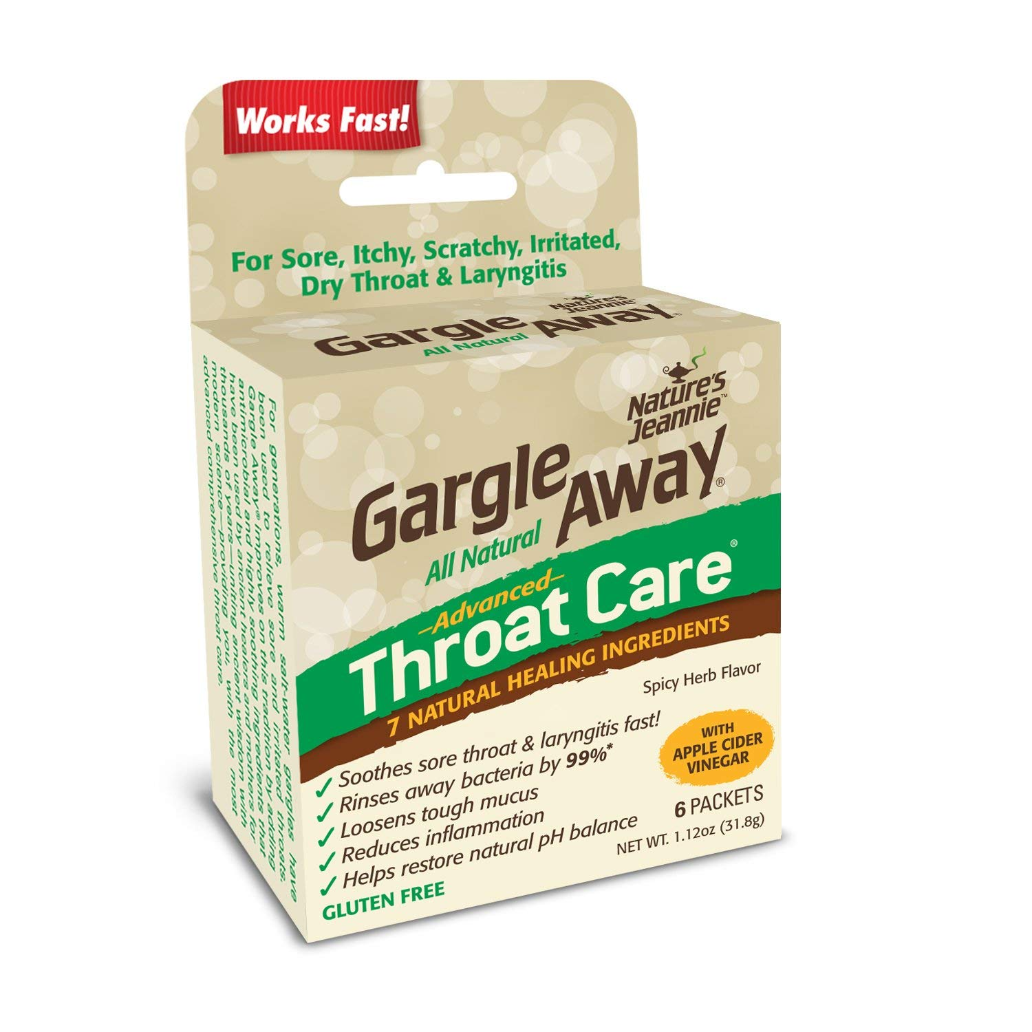 Gargle Away by Nature's Jeannie - Natural Sore Throat Remedy, Vocal Care, Mucus Relief, Cough Suppressant for Adults (6-Pack, Powder)