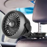 Car Fan, Battery Operated USB Car Fan with Aroma Function, 4 Speed,Work Quiet,360 Degree Rotatable Car Fan,5V Cooling Air Small Personal Fan for Car,Rear&Back Seat Passenger Dog Kids etc(Black)