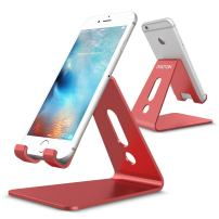 OMOTON Desktop Cell Phone Stand [Updated Solid Version], Advanced 4mm Thickness Aluminum Stand Holder for Switch, Mobile Phone, iPhone 11 Pro Xs Max Xr, Red