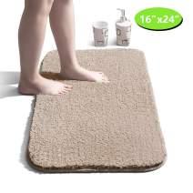 "Bathroom Rug Non Slip Bath Mat for Bathroom Water Absorbent Soft Microfiber Shaggy Bathroom Mat Machine Washable Bath Rug for Bathroom Thick Plush Rugs for Shower - Camel, 16""x24"""