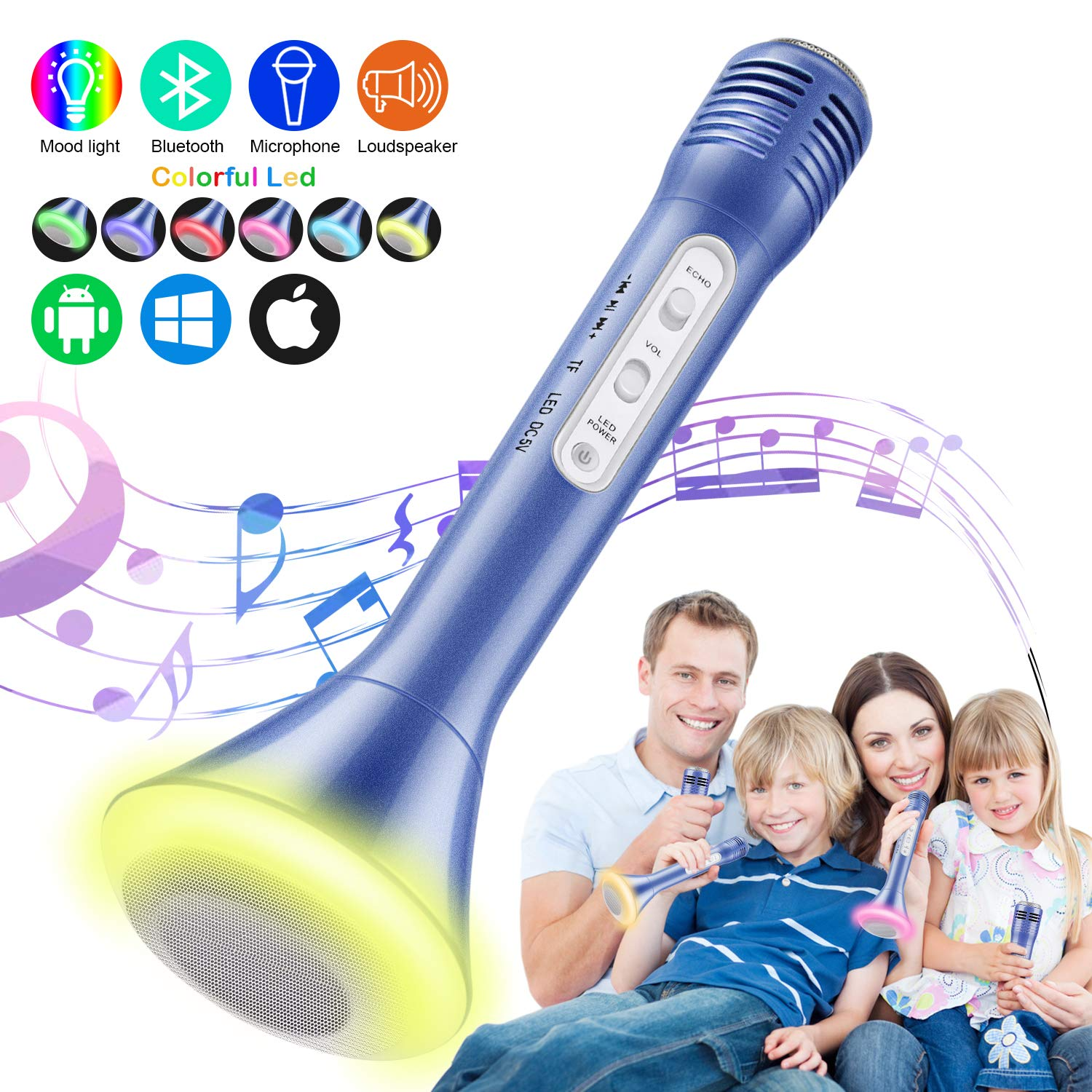 Magicfun Kids Microphone, Karaoke Microphone Bluetooth Wireless Portable Handheld Easter Christmas Birthday Home Party Gifts Toys for 4 5 6 7 8 9 4+ Year Old Kids Girls Boys Mic Speaker Machine(Blue)