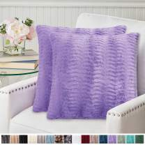 The Connecticut Home Company Original Faux Fur Pillowcases, Set of 2 Decorative Case Sets, Throw Pillow Covers, Luxury Soft Cases for Kids Bedroom, Living Room, Sofa, Couch, Bed, 18x18, Purple