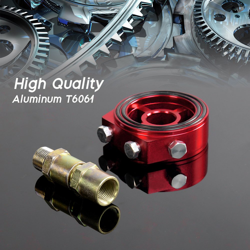 Universal M20 X 1.5 Racing Sport JDM Aluminum Oil/Gauge Filter Sandwich Adapter Plate Kit Red color
