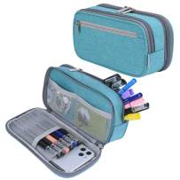 Pencil Case, Large Capacity Pencil Bag Pouch Pen Case Pencil Marker Holder Stationery Organizer Pencil Cases with Big Storage for Boys Girls Middle High School Adults and Office Supplies, Light Blue