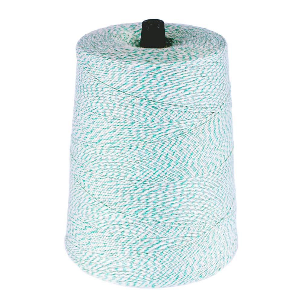 Cotton Bakers Twine - (4 Ply, 10,080 Feet, Green and White) - 2 Pound Cone - Polyester and Cotton Blended
