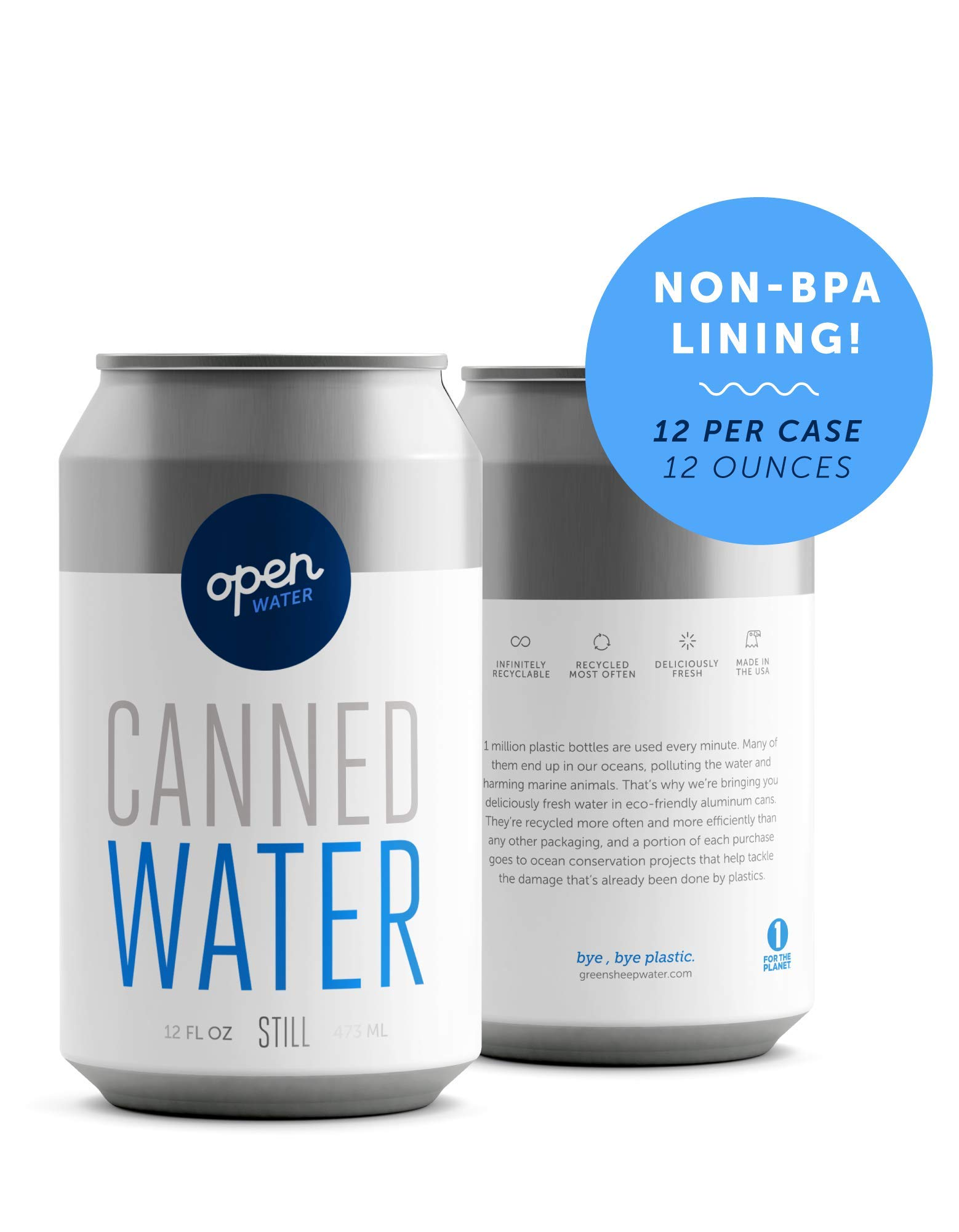 Open Water Still Canned Water with Electrolytes in 12-oz Aluminum Cans (1 Cases, 12 cans - Still)   BPA-free and Eco friendly