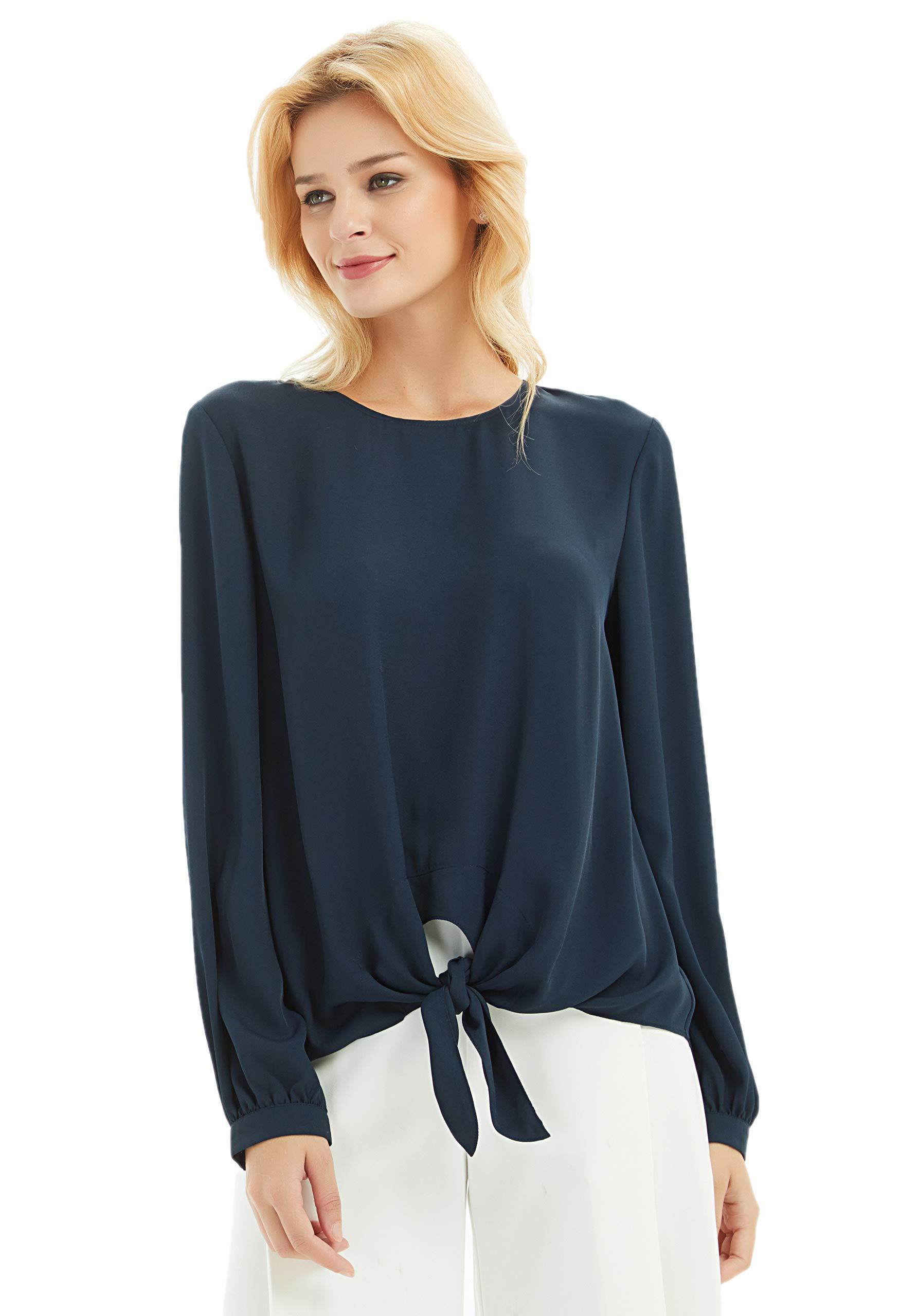 Basic Model Women's Long Sleeve Tie Knot Chiffon Blouse Casual Work T Shirts