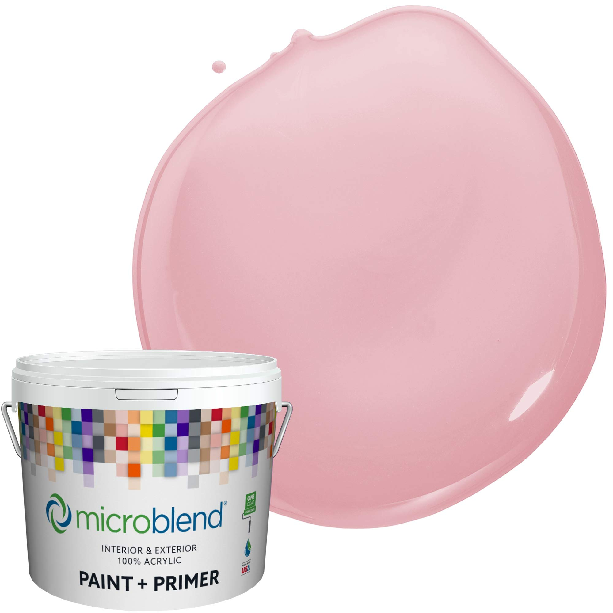 MicroBlend Interior Paint + Primer, Think Pink, Eggshell Sheen, 1 Gallon, Custom Made, Premium Quality One Coat Hide & Washable Paint (73220-2-M1188B3)