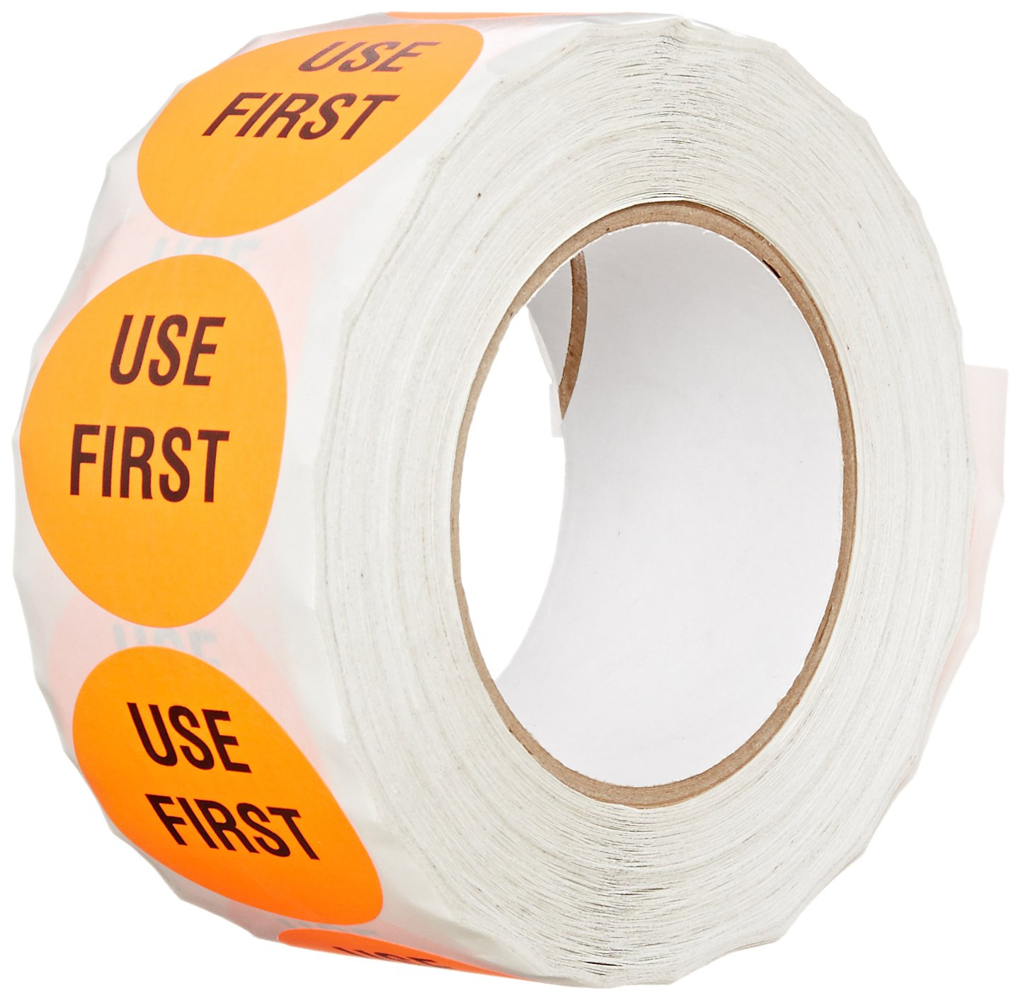 """TapeCase INVLBL-037 """"Use First"""" Inventory Control Label in Red [Pack of 1000] - 2 in. Circular Label for Marking, Color Coding, Notating Inventory Items"""