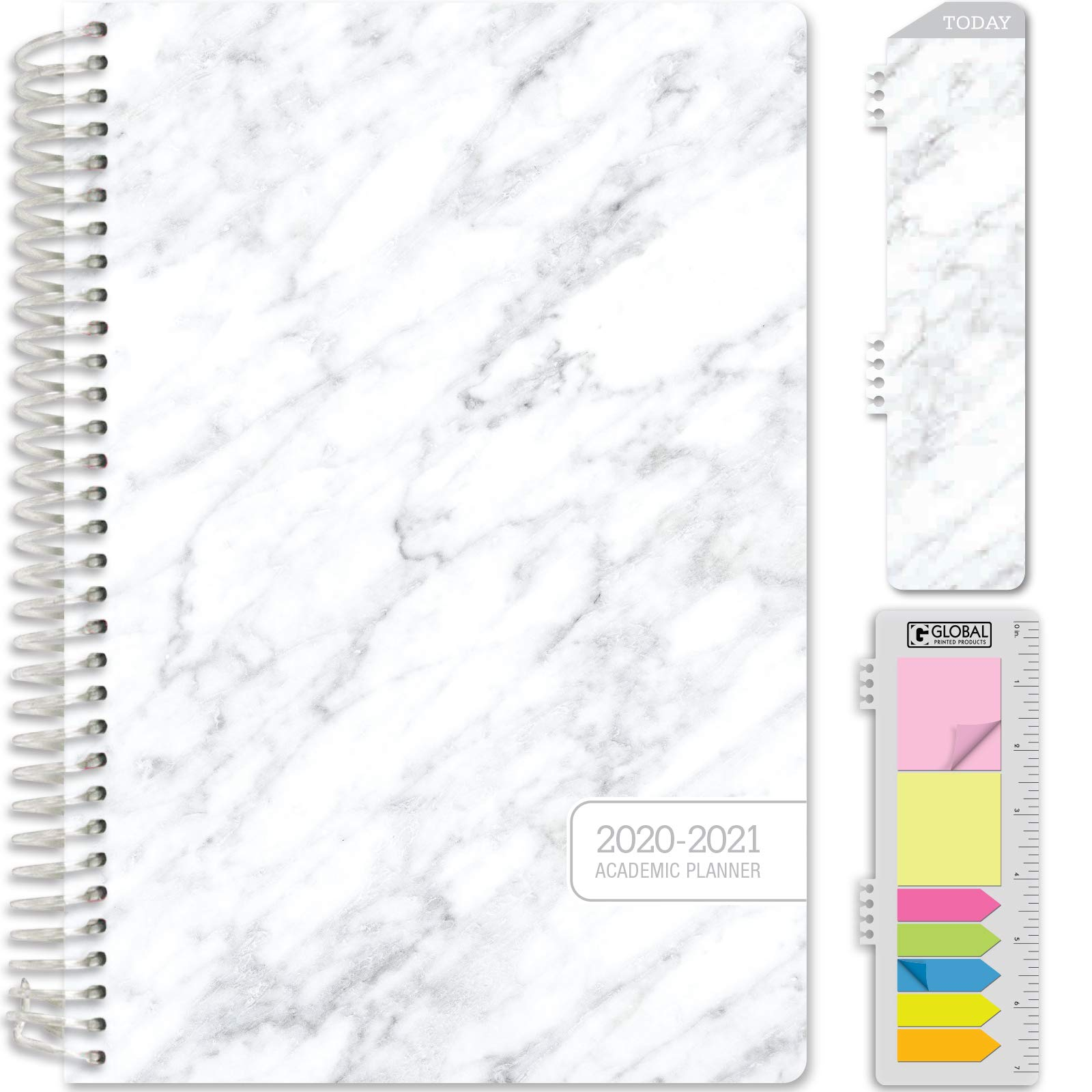 """HARDCOVER Academic Year 2020-2021 Planner: (June 2020 Through July 2021) 5.5""""x8"""" Daily Weekly Monthly Planner Yearly Agenda. Bonus Bookmark, Pocket Folder and Sticky Note Set (Grey Marble)"""
