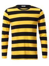 GUBERRY Mens Long Sleeve Crew Neck Striped Casual Cotton T Shirts