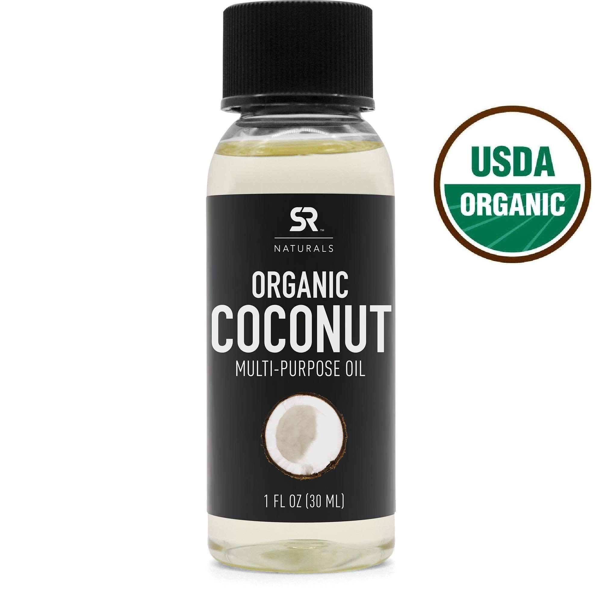 Organic Fractionated Coconut Oil by SR Naturals ~ 100% Pure Multi-Purpose Oil for Skin, Hair and DIY products ~ Organic Certified & Non-GMO Verified (1oz)