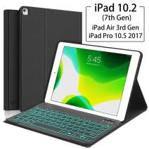 """iPad 7th Generation Case with Keyboard - iPad 10.2 2019 - iPad Pro 10.5(Air 3) - 7 Colors Backlight, Magnetically Detachable Wireless Keyboard - Folio Cover for New iPad 10.2"""" Inch, Black"""