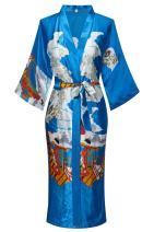 Dandychic Women's Kimono Robes Pagoda Print Kimono Imitation Silk Long Style Small Blue