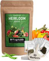 Heirloom Vegetable Seeds -10 Variety - Non GMO Vegetable Seeds For Planting Indoor or Outdoors, Brussel Sprouts, Carrots, Peppers, Cucumber, Kale, Romain, Peas, Radish, Tomato Seed - Home Garden Seeds