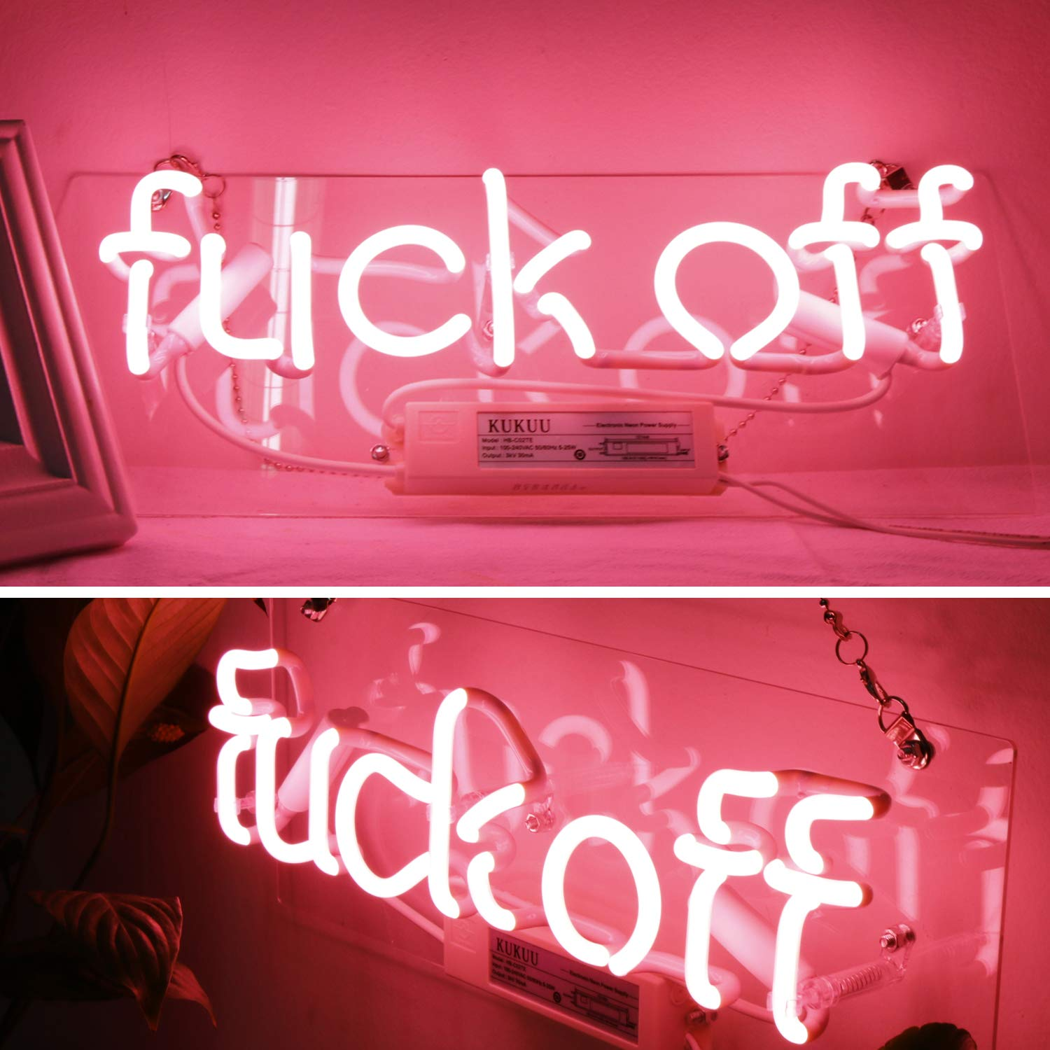 Neon Signs Fuck Off Pink Neon Lights Neon Light Sign Hanging Wall Sign Fuck Lights Neon Words Real Neon for Wall Bedroom Room Decor Party Holiday Decoration Signs