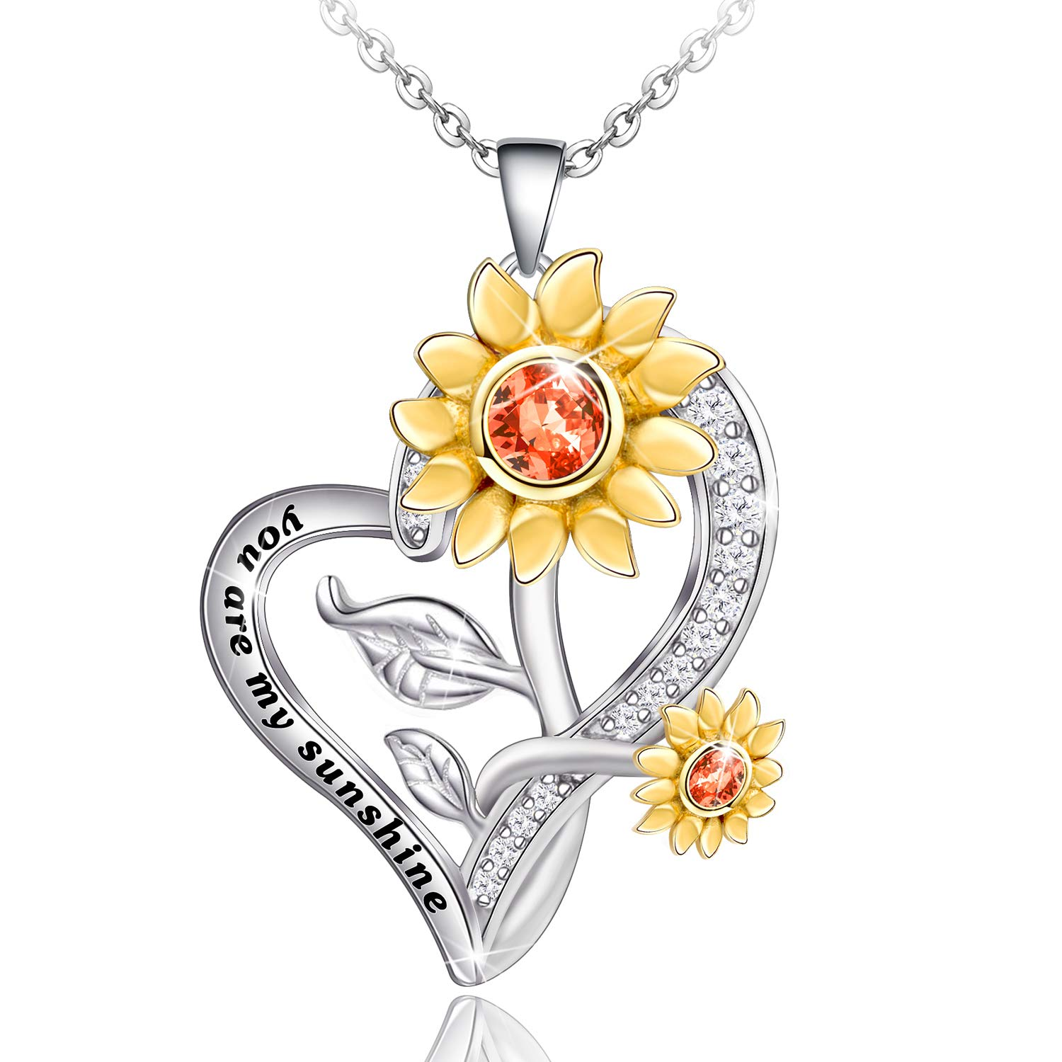 Distance Sunflower Necklace for Women S925 Sterling Silver Heart Necklace Jewelry,You are My Sunshine Pendant Necklaces Valentines Jewelry Gifts for Women Girls Mom Wife