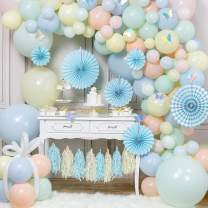 PartyWoo Pastel Balloon Garland Kit, 152 pcs of 6 Paper Fans, 2 Pastel Color Tassels, 10 Laser Butterflies, 4 Jumbo Pastel Balloons, Pastel Color Balloons for Unicorn Birthday Decors, Ice Cream Party