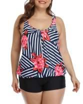 Yonique Women Plus Size Blouson Tankini Swimsuits 2 Piece Athletic Bathing Suit with Boyshorts