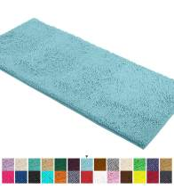 LuxUrux Bath Mat-Extra-Soft Plush Bath Shower Bathroom Rug,1'' Chenille Microfiber Material, Super Absorbent Shaggy Bath Rug. Machine Wash & Dry (21 x 59 Inch, Spa Blue)