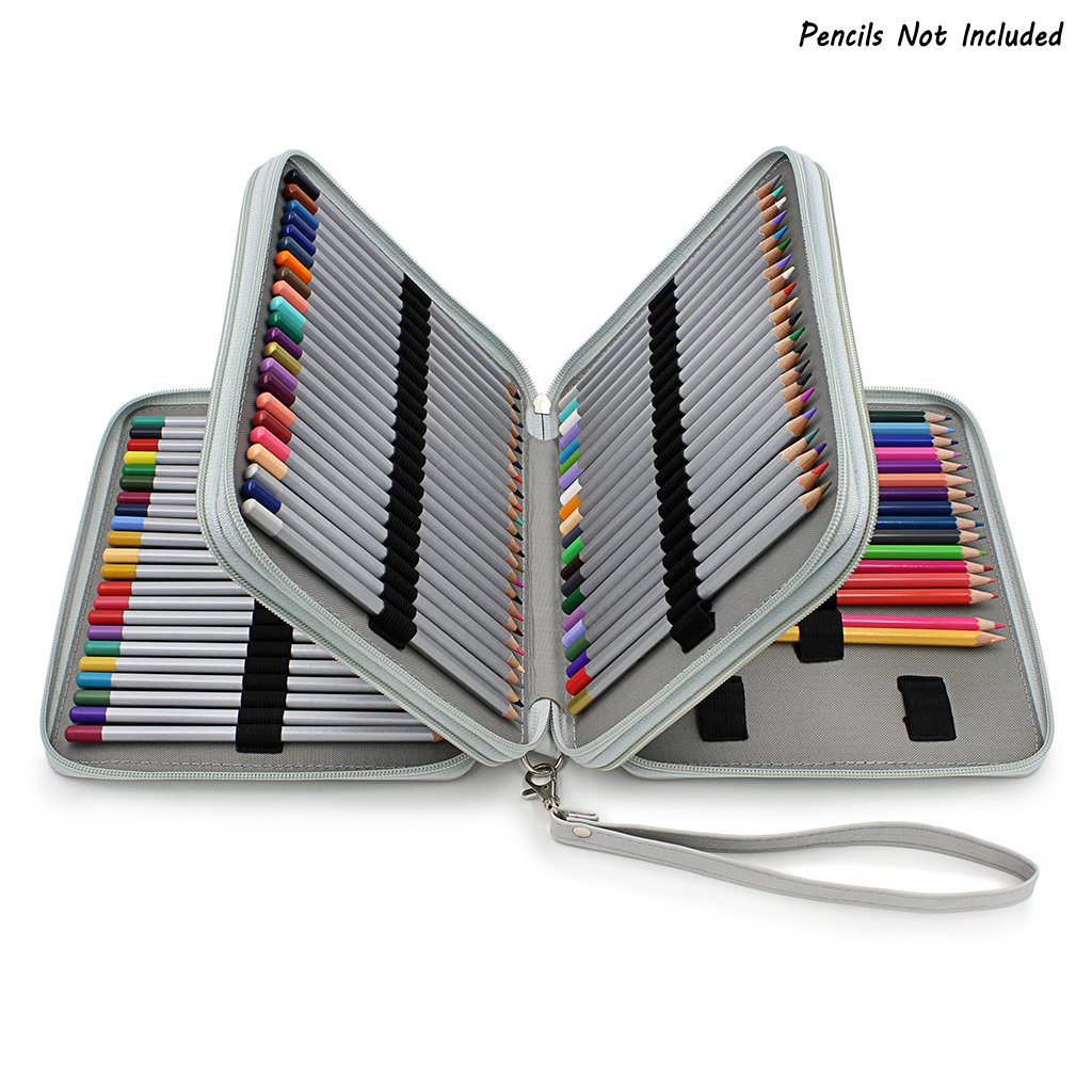 BTSKYDeluxe PU Leather Pencil Case for Colored Pencils - 120 Slot Pencil Holder with Handle Strap Handy Colored Pencil Box Large(Grey)